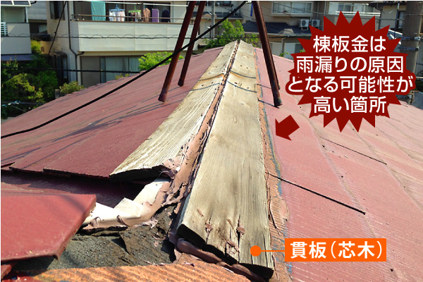 棟板金は雨漏りの原因となる可能性が高い箇所
