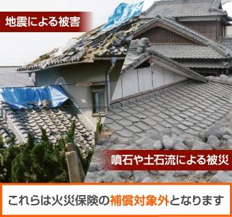 地震や噴石、土石流による被害は火災保険の対象外