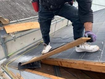 ケラバの屋根材の撤去