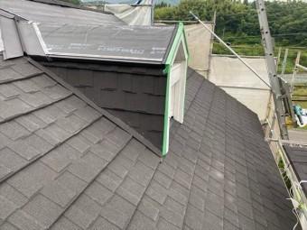 ドーマー周囲の屋根材の施工
