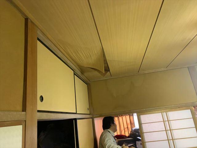 天井のシミ、剥がれ