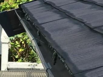カラーベスト屋根の軒先のコケ