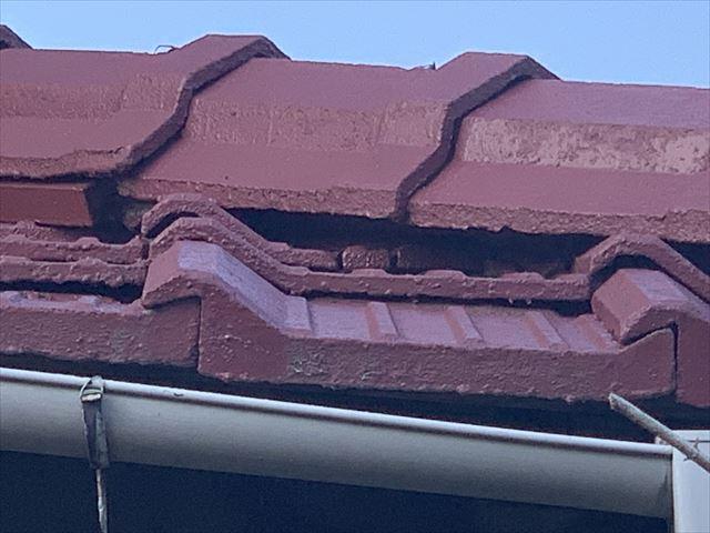 棟漆喰剥がれ