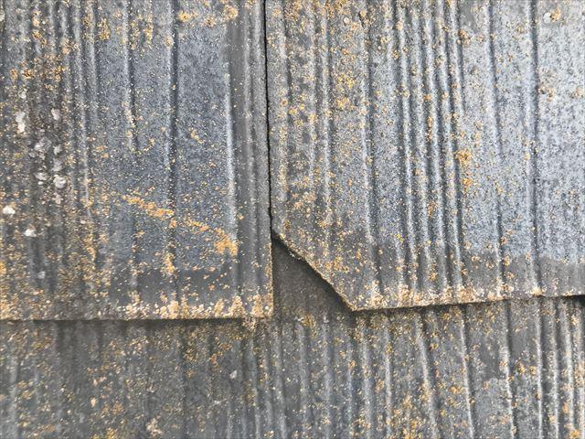 スレート屋根の欠け