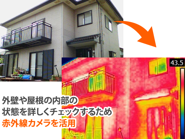 外壁や屋根の内部の状態を詳しくチェックする赤外線カメラ